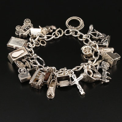 Vintage Sterling Sterling Travel and Hobby Themed Charm Bracelet