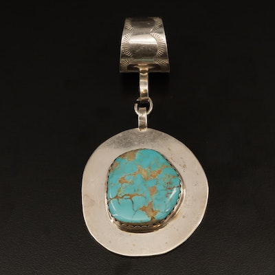 Jimmy Calabaza Kewa Pueblo Sterling Silver Turquoise Pendant