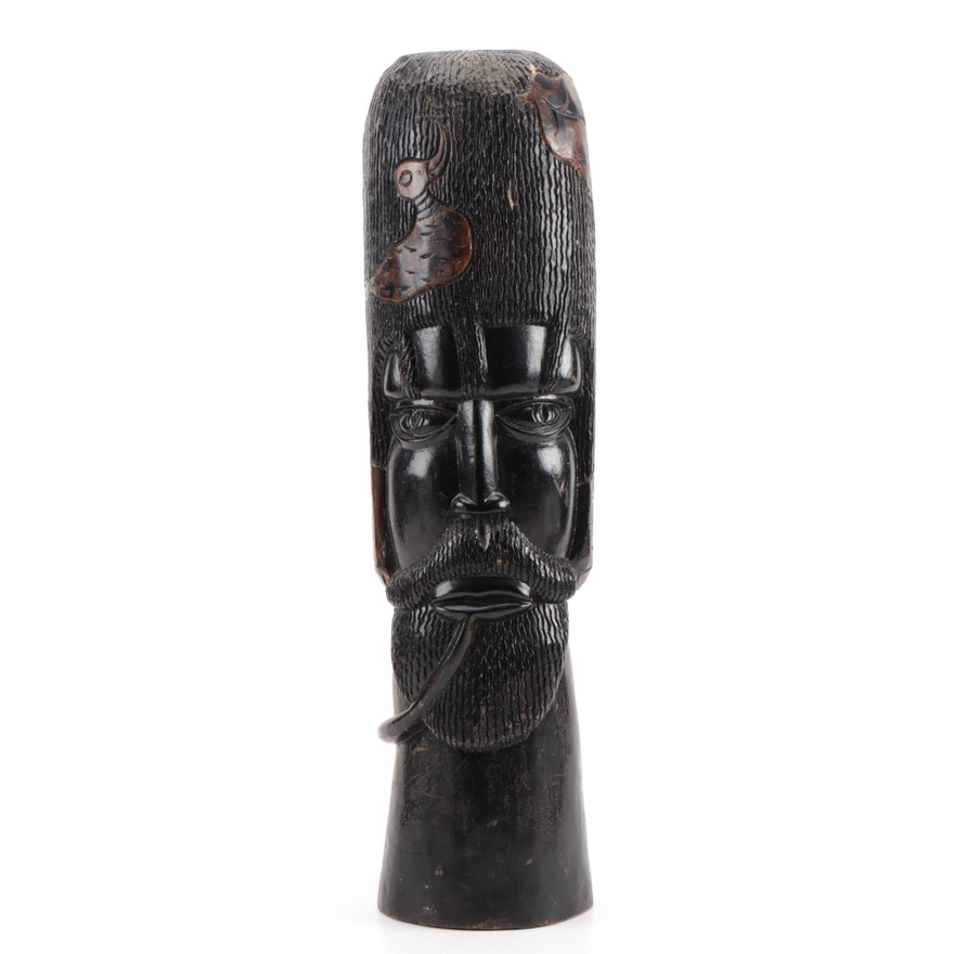 East African Carved Wooden Bust with Duck and Leaves Motif