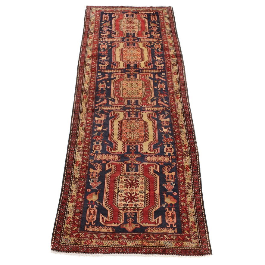 3'9 x 10'10 Hand-Knotted Persian Northwest Pictorial Wide Runner, 1960s