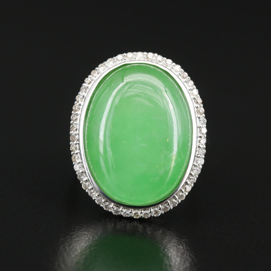Sterling Silver Jadeite and Diamond Ring