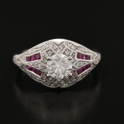 Vintage Style Platinum Diamond and Ruby Ring