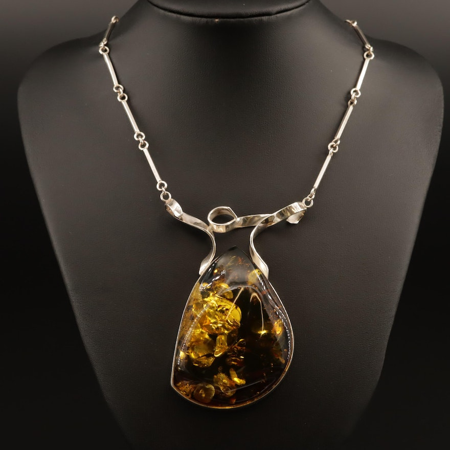 Sterling Amber Bar Chain Necklace