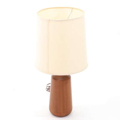Mid Century Modern Turned Wood Table Lamp