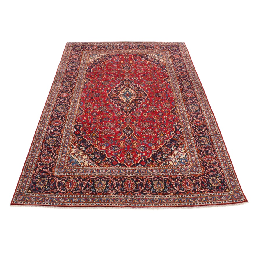 7'10 x 11'4 Hand-Knotted Persian Kashan Room Sized Rug, 1970s