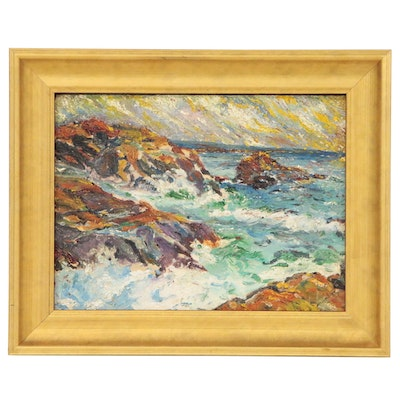 Seascape Impasto Oil Painting, Mid 20th Century