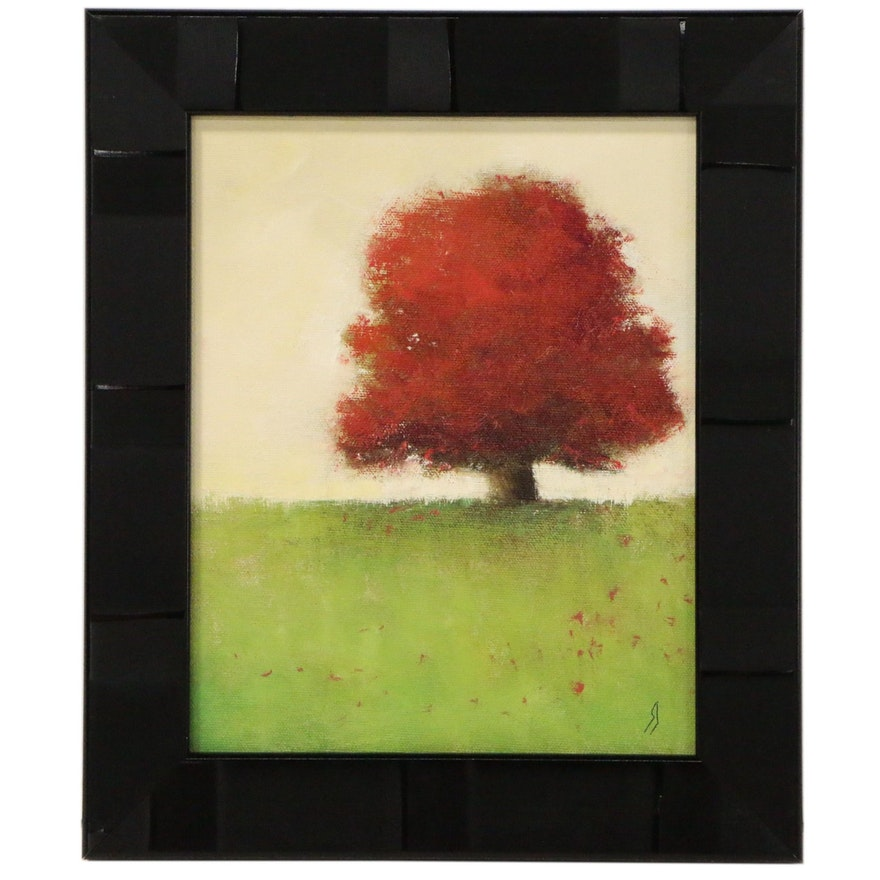 """Landscape Oil Painting """"Red Maple Tree #12"""", 21st Century"""