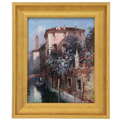 "Claudio Simonetti Canal Scene Oil Painting ""Morning Flowers of Venice"""