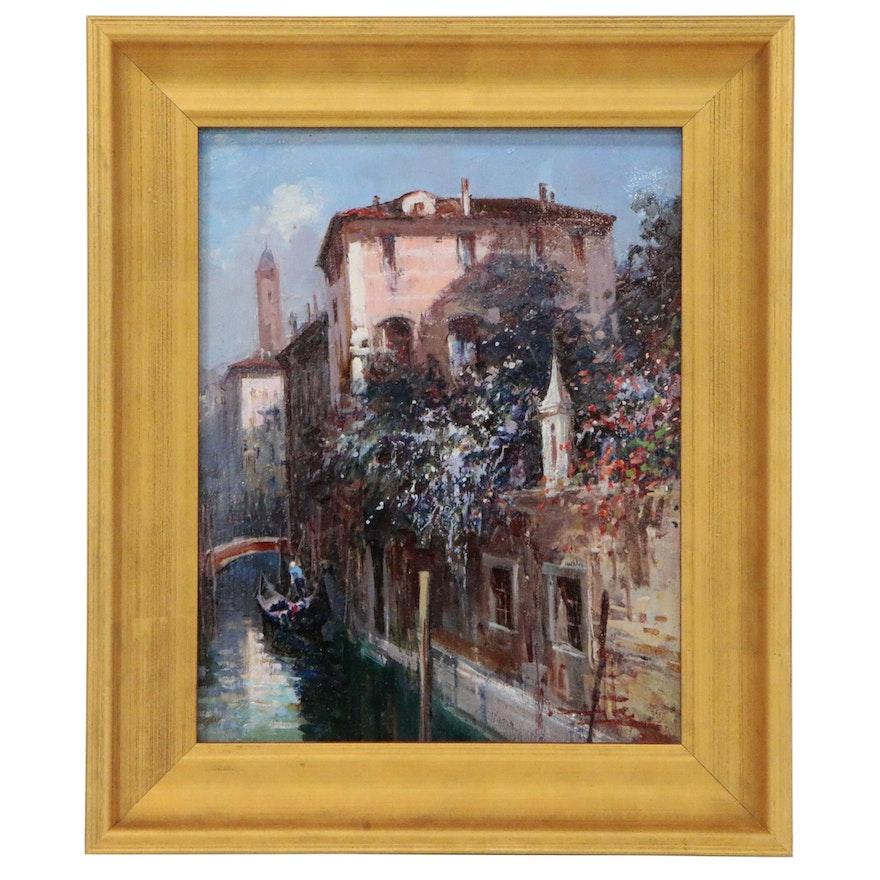 "Claudio Simonetti Canal Scene Oil Painting ""Morning Flowers of Venice"""