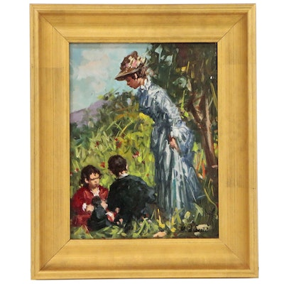 Maria Liberti Oil Painting of Mother and Sons in Landscape, 21st Century