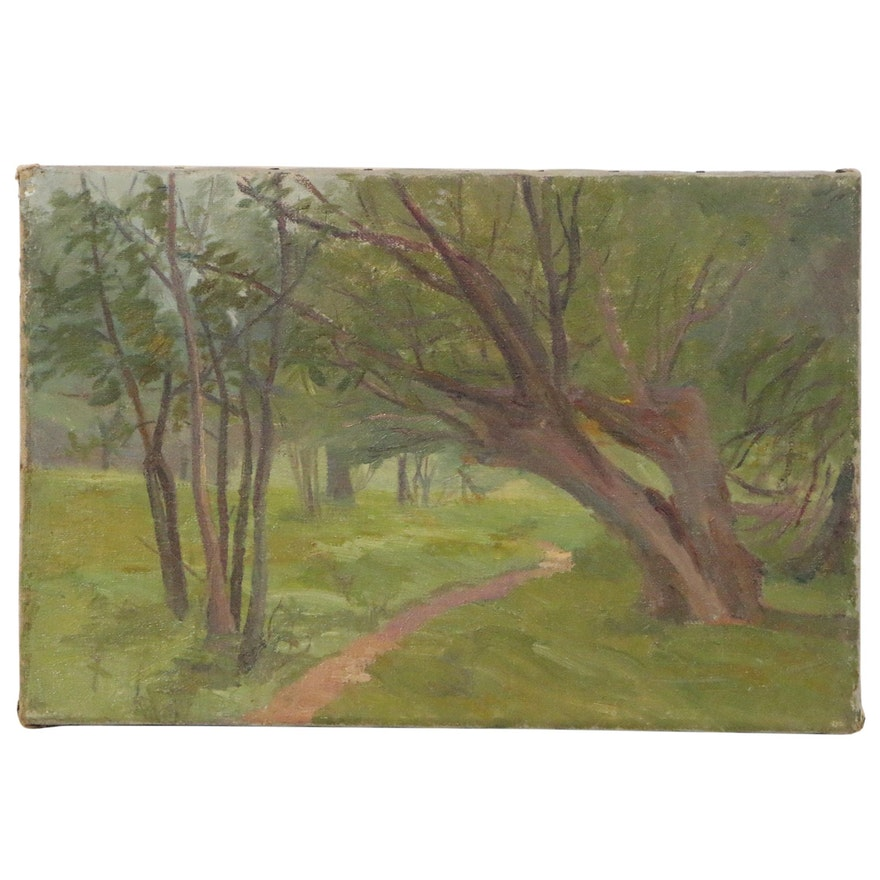 Springtime Park Landscape Oil Painting, Mid to Late 20th Century