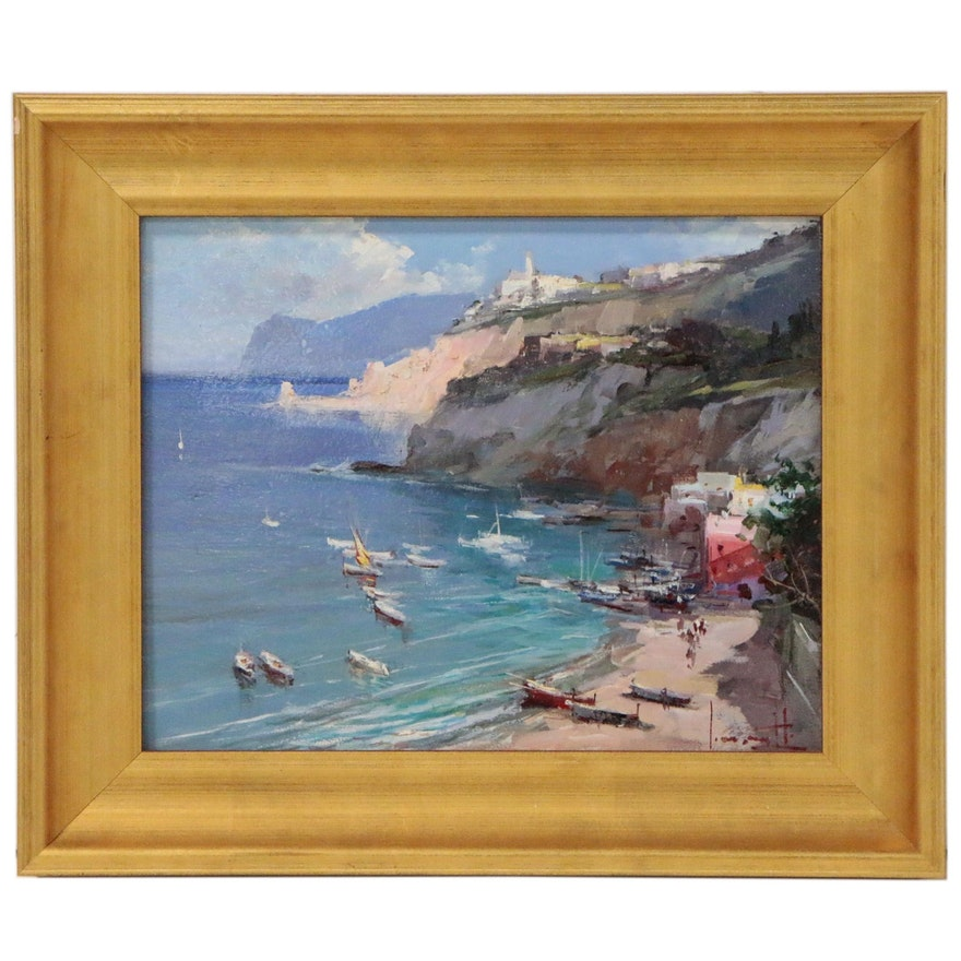 "Claudio Simonetti Coastal Landscape Oil Painting ""Day for Sailing"""