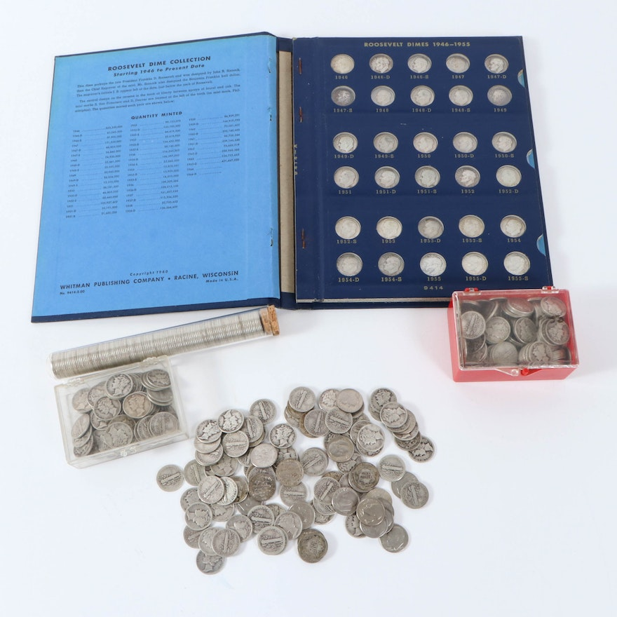 Mercury Silver Dime and Roosevelt Dime Collection