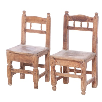 Two Child's Primitive Pine Side Chairs