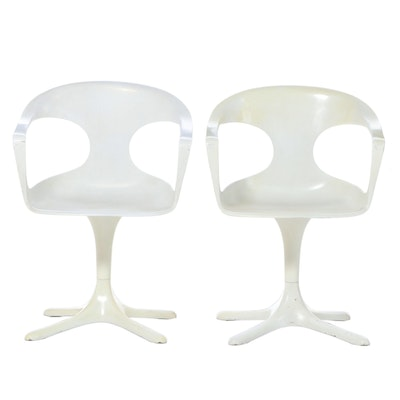 Pair of Konrad Schäfer for Lübke Modernist Molded Plastic & Fiberglass Armchairs