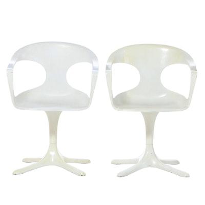 Pair of Konrad Schäfer for Lübke Modernist Molded Plastic & Fiberglass Armchairs