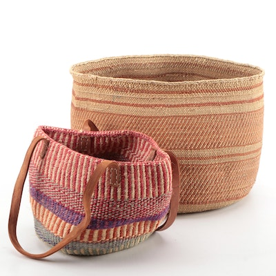 Kenyan Woven Sisal Shoulder Bag and Woven Grass Storage Basket