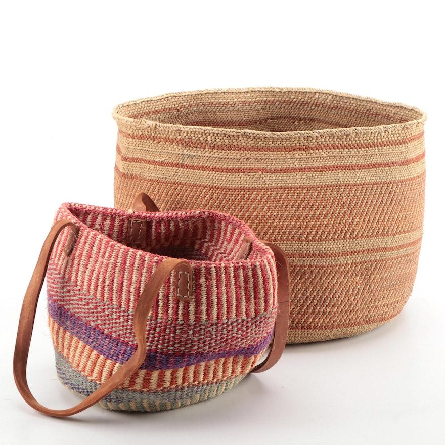 Kenyan Woven Sisal Shoulder Bag and Woven Grass Storage Basket