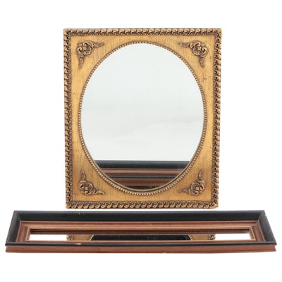 Victorian Style Gilt Mirror and Oblong Mirror, Mid-Late 20th Century