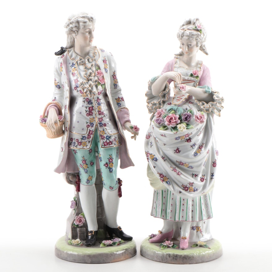 Rococo Courting Couple Porcelain Figurines, Early to Mid-20th Century