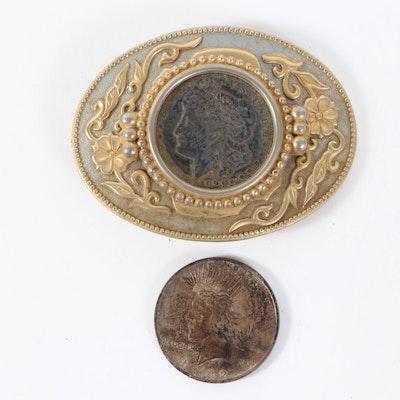 1921 Morgan Silver Dollar Belt Buckle and 1922 Peace Silver Dollar