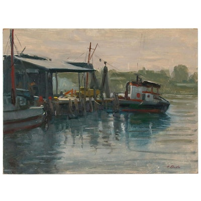 "Harry Barton Oil Painting ""Fishing Boats in Gloucester"", Mid 20th Century"