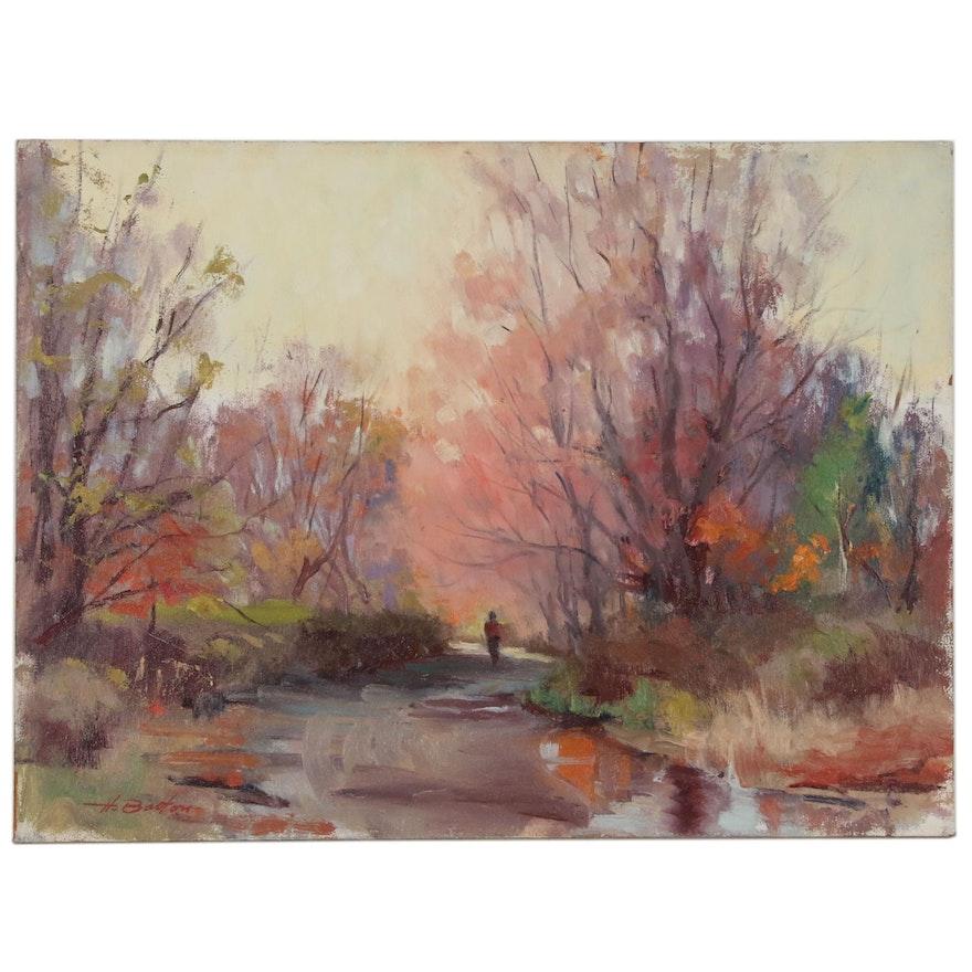 Harry Barton Park Landscape Oil Painting, Mid 20th Century