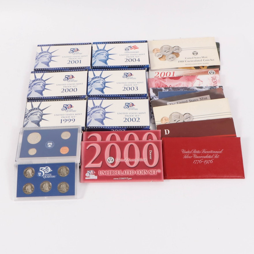 Nineteen U.S. Mint Uncirculated and Proof Coin Sets