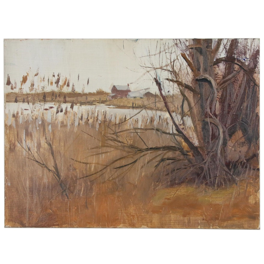 Harry Barton Rural Landscape with Pond Oil Painting, Mid 20th Century