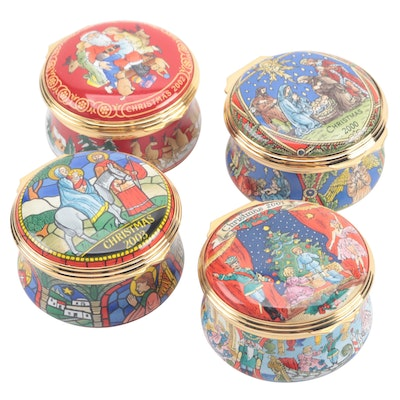 Halcyon Days Enamel Christmas Trinket Boxes, 2000s