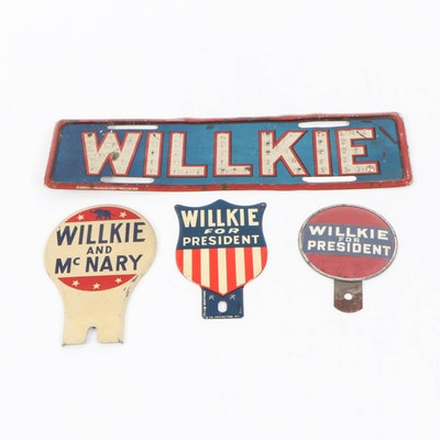 Wendell Willkie License Plates and Tags, 1940s