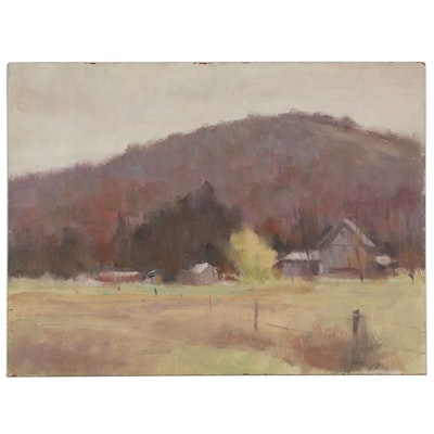 Harry Barton Rural Valley Landscape Oil Painting, Mid 20th Century