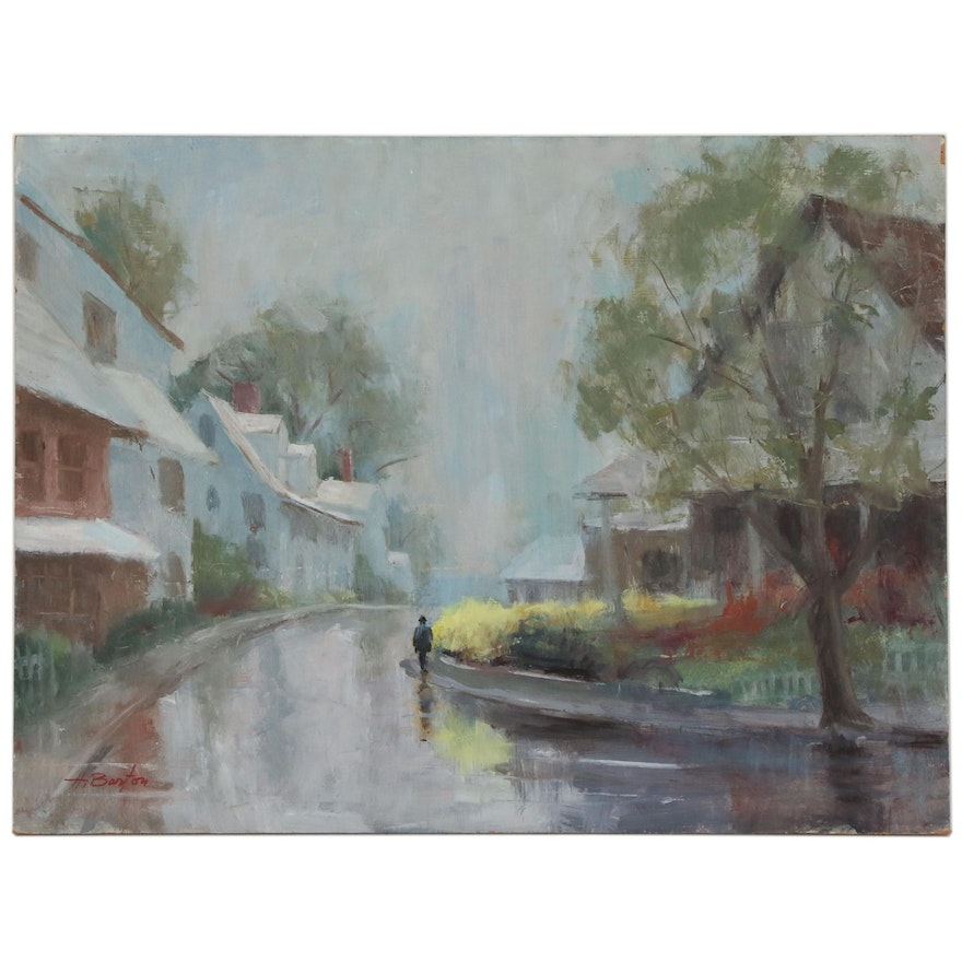 Harry Barton Suburban Landscape with Figure Oil Painting, Mid 20th Century