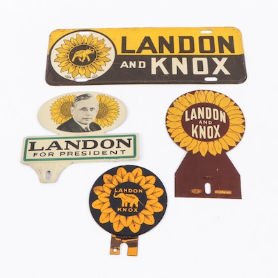 Alf Landon and Frank Knox License Plate and Tags, 1930s