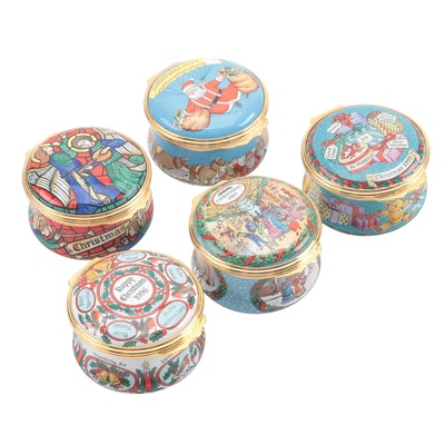 Halcyon Days Enamel Christmas Trinket Boxes, 1990s