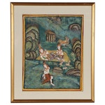 Thai Gouache Painting of Figures in Landscape