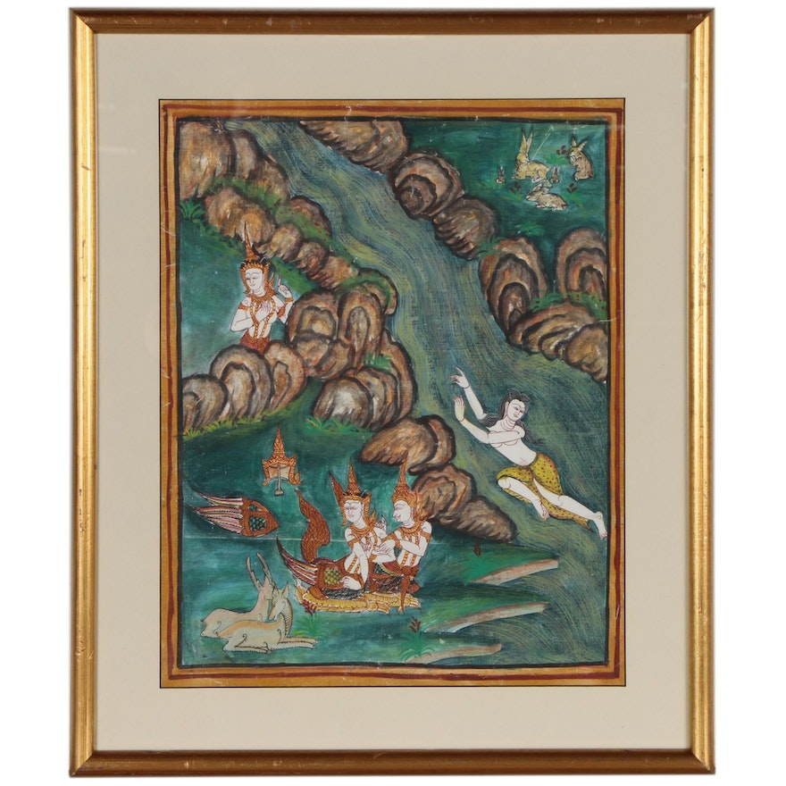 Thai Gouache Painting of Figures in River Landscape
