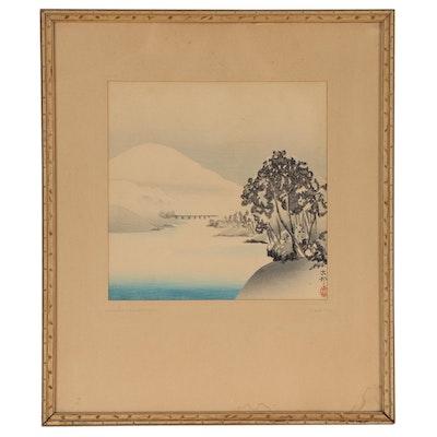 "Ohara Koson Woodblock ""Winter Landscape"""
