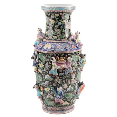 Chinese Famille Noire Porcelain Floor Vase with Applied Children Figures
