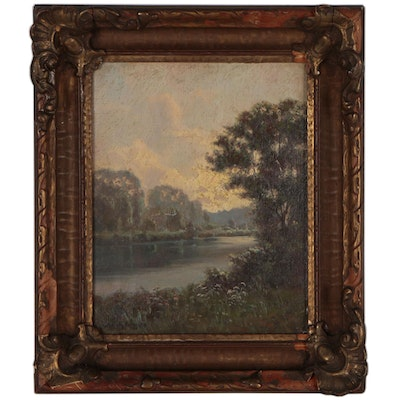 """Hiram Peabody Flagg Landscape Oil Painting """"Early Morning"""", 1919"""
