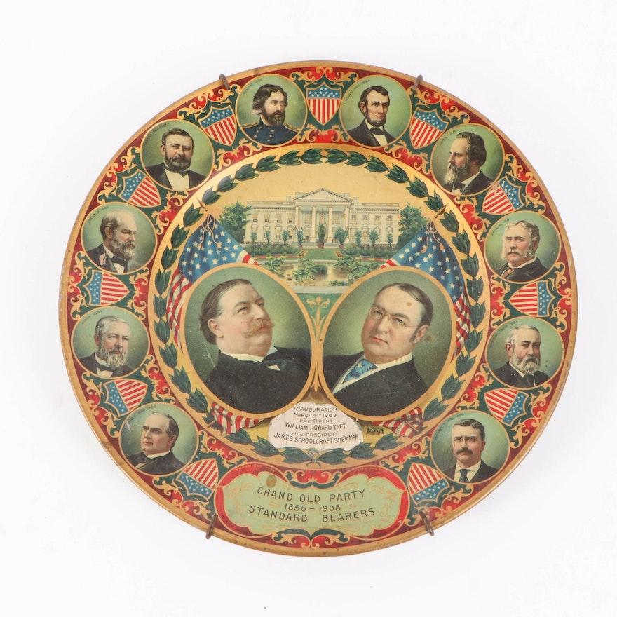William Howard Taft Presidential Inauguration Souvenir Tin Plate, 1909