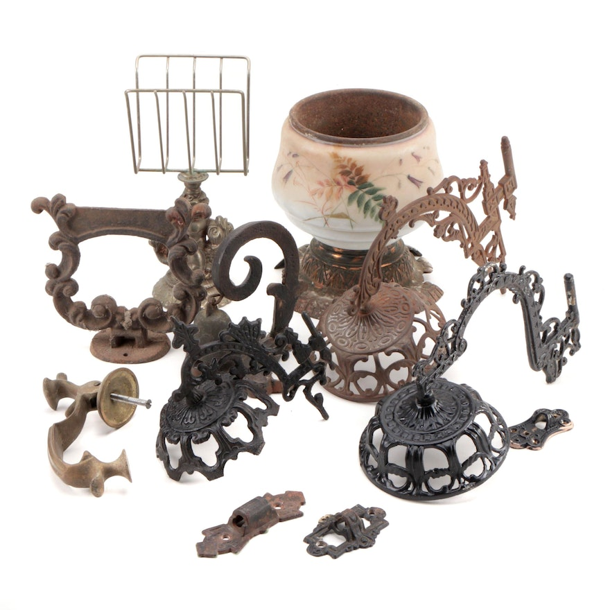 Decorative Ornate Candle Holders, Doorbell, Boot Scraper, Mid to Late 19th-C