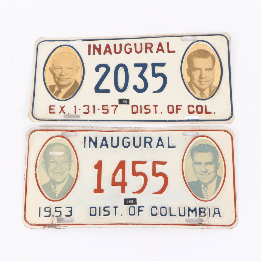 Dwight D. Eisenhower Presidential Inauguration License Plates, 1953 and 1957