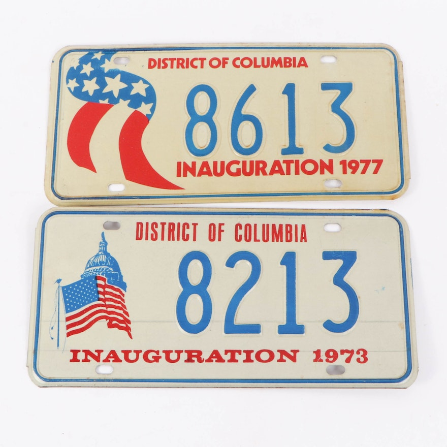 Nixon and Ford Presidential Inauguration License Plates, 1973 and 1977