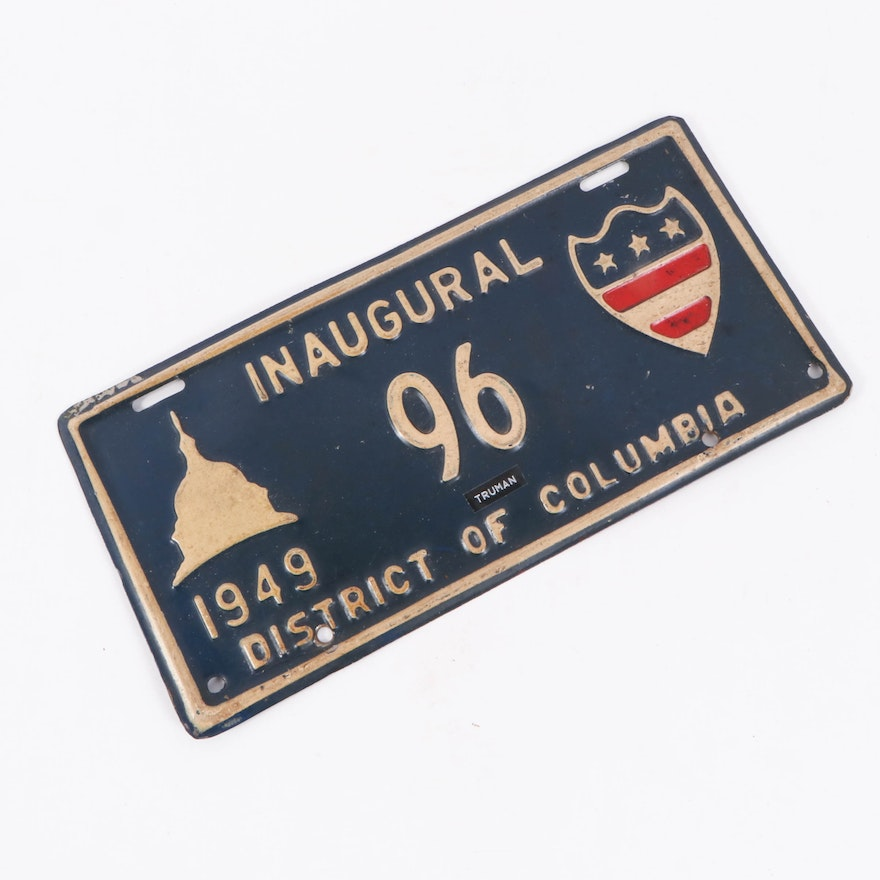 Harry S. Truman Presidential Inauguration License Plate, 1949