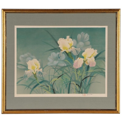 David Lee Lithograph of Iris Flowers