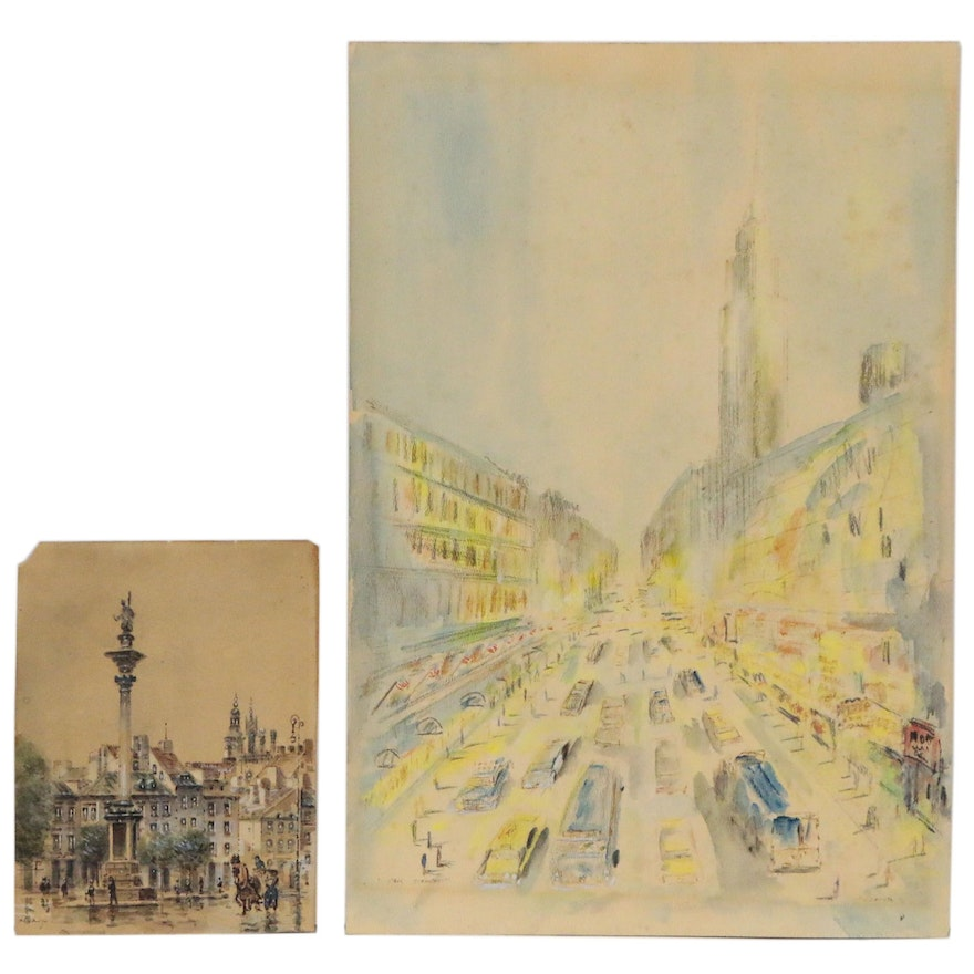 Cityscape Watercolor Paintings, 20th Century