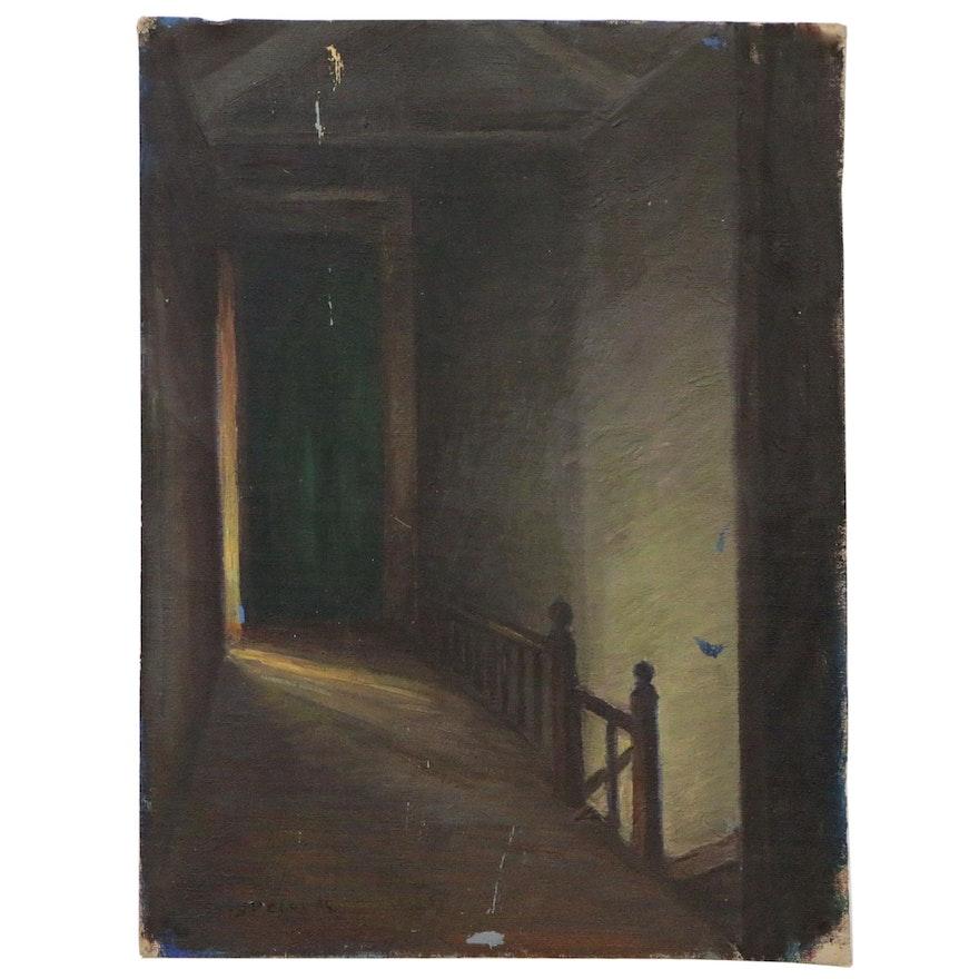 "Eliot Candee Clark Interior Oil Painting ""Hallway New York"", 1944"