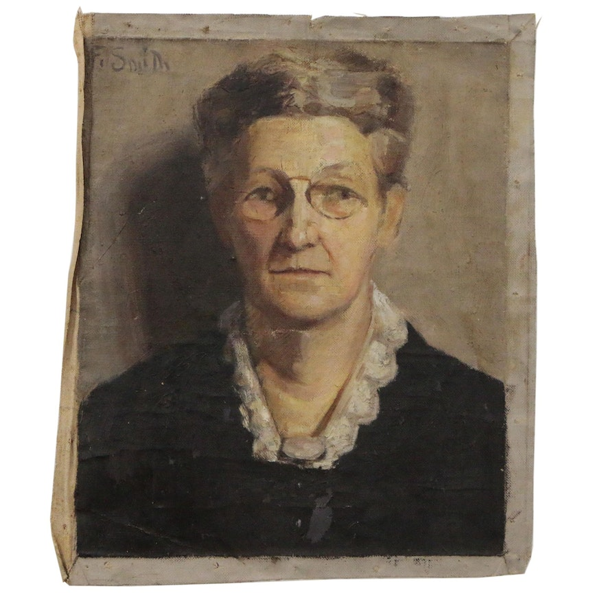 Portrait Oil Painting of Older Woman in Glasses