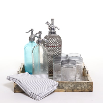 Vintage Seltzer Bottles,  Tumblers, Dish Towels and Burl Wood Serving Tray